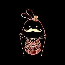 3D LED Nachtlicht Lampe 7 Farbwechsel Touch Switch Dekoration Lampen Mit Acryl Flat & ABS Base & USB Kabel Kaninchen Liebhaber Thema Spielzeug