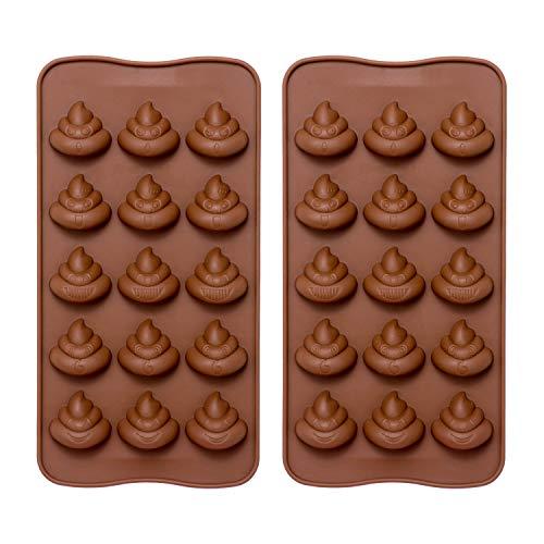 Emoji-Poop Silikon Form-comkit 15-cavity Cute Funny Emoji-Poop Emotion Backen Maker Formen Tablett für Kuchen Dekorationen, Schokolade/Süßigkeiten/Fondant/Gummy/Ice Cube Making (Candy Chocolate Buffet)