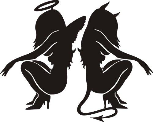 Dekosticker für Autos, Vans und Fahrräder, Sexy Engel und Teufel, Mädchen