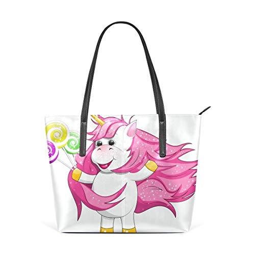 Cute Cartoon Einhorn Essen Leckere Candy Fashion Leder Tote Schultertasche Handtasche für Frauen Mädchen