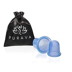PURAVA Silikon Schröpfgläser mit verbessertem Konzept [2019] – Inklusive E-Book – Hochwertige medizinische Saugglocken – Optimal gegen Verspannungen