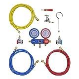 vidaXL 2-Wege Monteurhilfe Klimaanlage Set R134a R22 R12 R502 Koffer 3 Schläuche