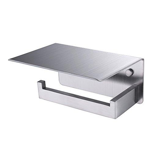 APL WC-Papierhalter, SUS304Edelstahl Badezimmer Papier Tissue Halter mit Handy-Aufbewahrung Regal Modern Brushed Nickel-l -