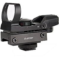Svbony Mira Metal Telescópica para Cámara y Carril de 20 mm con 5 Intensidades y 4 Tipos de Retícula de 2 Colores Intercambiables, Rojo y Verde (Negro)