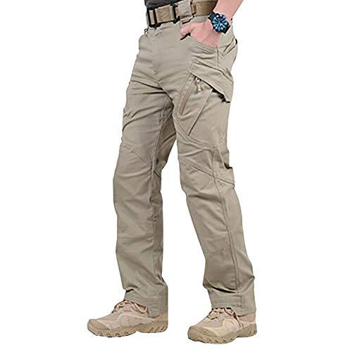 Mayouth uomini lavorano impermeabile merci lunghi tasche dei pantaloni pantaloni ampi con il tasto & zip