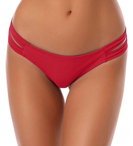 Bikinis String (SHEKINI Damen Niedrige Taille Bikini Bottom Bademode Tanga Bikinihose String Rüschen Brazilian Bikini Slip (XL, Weinrot))