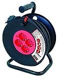 VELAMP REEL-IT-50 Prolunga Elettrica con Avvolgicavo 4 Prese Polivalenti (Schuko + 10/16A) + Spina Grande 16A, con Protezione, Sezione Cavo 3G1,5 mm², Nero/Rosso, 50 Metri