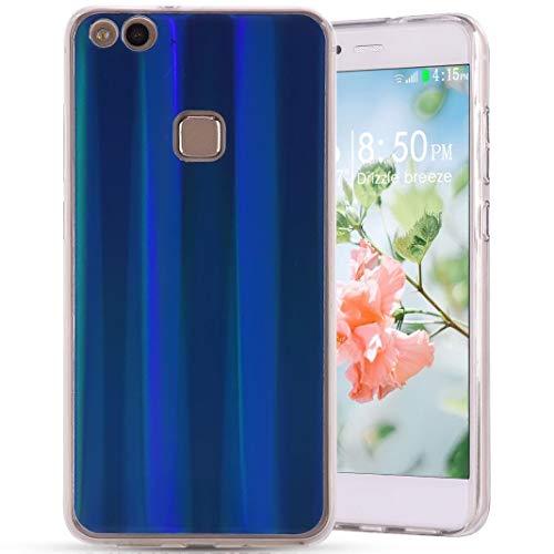 Amcor Love Coque Huawei P10 Lite Silicone, Aurores Boréales Coloré Cas Ultra Mince Souple TPU Silicone Full Protection Anti-Choc Anti-Rayures Housse Etui Couverture pour Huawei P10 Lite, Bleu