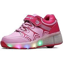Tamaño 12-8,5elegante Unisex LED luz signle rueda Roller Shoes Hip Hop Casual Deporte Zapatos Zapatillas Deportivas (Little Kids/grandes niños/adulto)