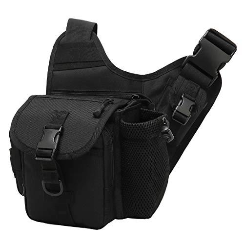 l Tasche Outdoor Schultertasche Herren Motorrad Umhängetasche Sport Crossbody Tasche Kleiner Messenger Bag für Reise Running Adventure (Schwarz) ()