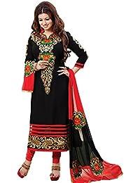 Isha Enterprise Women's Cotton Salwar Kameez(KFS600-4002_Black)