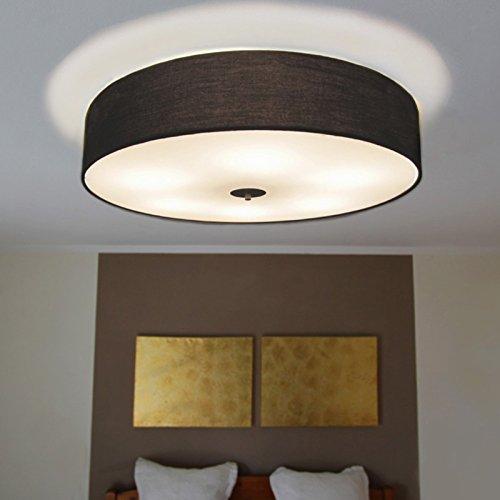 QAZQA Design/Modern Deckenleuchte/Deckenlampe/Lampe/Leuchte Drum mit Schirm 70 rund schwarz/Innenbeleuchtung/Wohnzimmerlampe/Schlafzimmer/Küche Glas/Textil/Stahl Rund LED geeignet E27