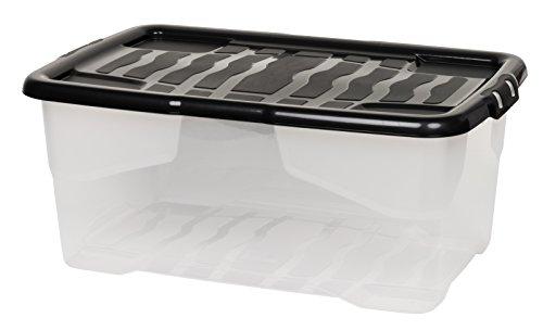 """Aufbewahrungsbox""""Curve"""" mit Deckel aus transparentem Kunststoff. Nutzvolumen von ca. 42 Liter. Stapelbar und nestbar. Maße BxTxH in cm: 61 x 40 x 26 cm"""