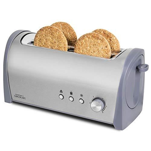 Cecotec Tostadora Acero Steel&Toast 2L. 6 Niveles de Potencia, Capacidad para 4 Tostadas, 3 Funciones (Tostar, Recalentar, Descongelar), Incluye Soporte Panecillos, con Bandeja Recogemigas, 1400 W