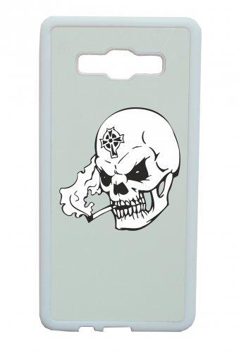 Smartphone Case teschio con sigaretta in bocca qualm Croce sulla fronte scheletro rocker Frecce Club Gothic Biker Skull Emo Old School per Apple Iphone 4/4S, 5/5S, 5C, 6/6S, 7& Samsu