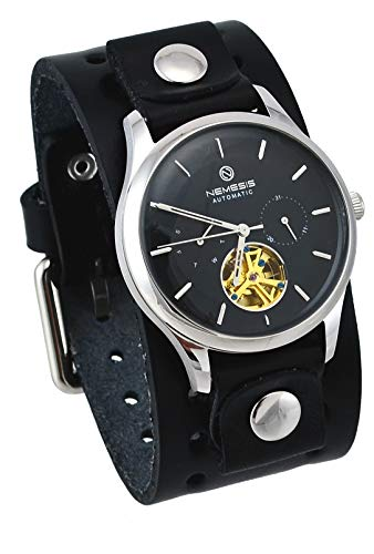 Nemesis BN510K Men's Open Heart Tourbillon Multifunction Dual Dial Day Date Wide Leather Band Automatic Watch