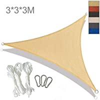 YLA Impermeable Sun Shelter Triangle Sunshade ProtectionPatio alAire LibrePool Shade Sail Awning Camping Shade, 3x3x3m