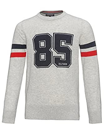 3f07c4f67129 Tommy Hilfiger Boy s Timothy With Print Crew Neck Long Sleeve Jumper - grey  - 6 Years  Amazon.co.uk  Clothing