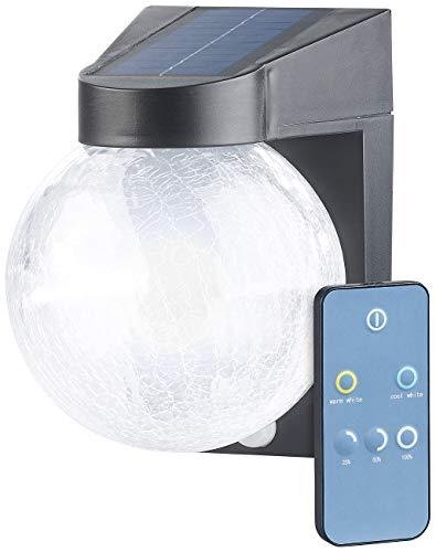 Luminea Lampe: Solar-LED-Wandleuchte im Crackle-Glas-Design, PIR-Sensor, 200 Lumen (LED-Außenleuchten Solar)