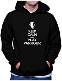 Teeburon Keep calm and play Parkour silhouette Sudadera con capucha