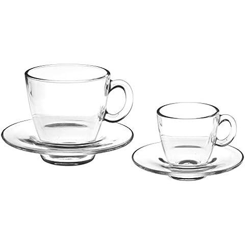 Pasabahce Aqua Servicio Tazas Café con Plato, Vidrio, Transparente, 6 Piezas