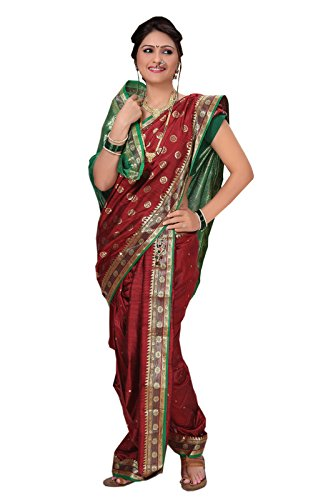 Bhartiya Vastra Bhandar Women's Ready To Wear Nauvari Saree(DNo1_KachiButta_Multi-Coloured_FreeSize)