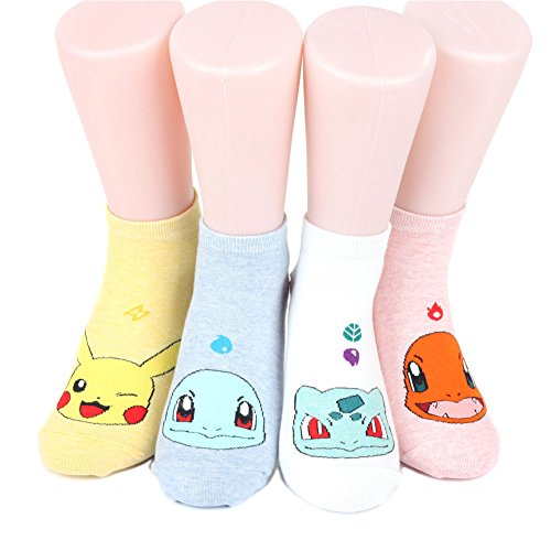 Pokemon-Womens-Ankle-Socks-Mark-4-pairs-4-color-1-pack-N-Made-in-Korea