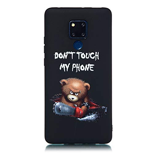 Everainy Kompatibel für Huawei Mate 20 X Hülle Silikon Bumper Gummi Neu Cover Hüllen für Huawei Mate 20 X Handyhülle Stoßfest TPU Stoßstange Schwarz Schutzhülle (Don't Touch My Phone) -