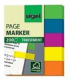 Sigel HN615 Marque-pages adhésifs en papier film transparent, 200 feuilles de 5 x 1,2 cm, 5 couleurs