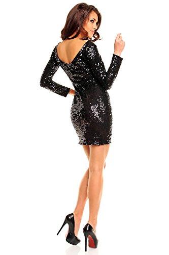 Paillettenkleid rückenfrei Cocktailkleid Abendkleid mit Pailletten bestickt schwarz XL - 4