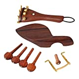 Accessori Per Violino Set Cordiera Piroli Chinrest Accordatore Tail Gut Su Endpin Kit Di 4/4 Parti Per Violino
