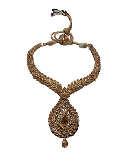 Unique HF Bridal Wedding Golden Metal Alloy Jewellery Set With Necklace For Women