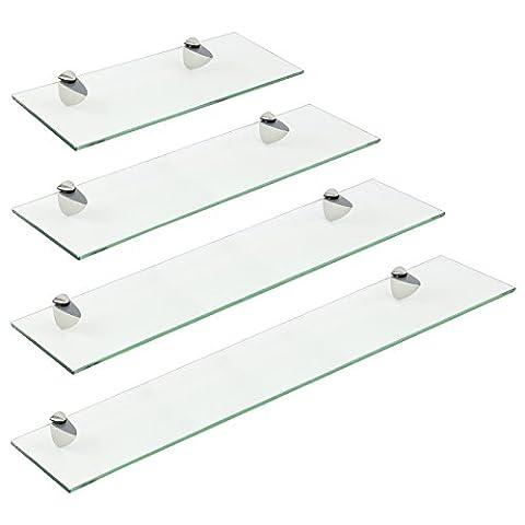 Hartleys Clear Glass Wall Shelf with Metal Mounts