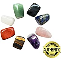 Chakra piedras cristales curación Set de 8, Tumbled y pulido, para terapia de equilibrio de 7Chakras, cristal, Meditación, Reiki, o como pulgar piedras, piedras de palma, Worry Stones