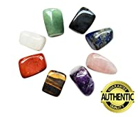 You get: Set of 8 gemstones, tumbled and well polished:  1) Green: Aventurine 2) Pink: Rose Quartz 3) Red: Red Jasper 4) Brown: Tiger's Eye 5) Purple: Amethyst 6) Black: Obsidian 7) Blue: Lapis Lazuli8) White: Clear Quartz A beautiful purple ...