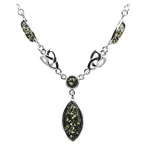 Green Amber Sterling Silver Celtic Necklace 41cm