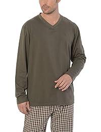 El Búho Nocturno Pijama de Caballero Corto Moderno a Rayas Anchas/Ropa de Dormir para Hombre - Punto, 100% algodón - Color Rojo, Azul…