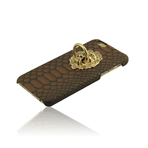 Schutzhülle iPhone 7 Plus Hülle, Metall Löwe Kopf Metall Ring Serie Halter Entwurf Hart Kunststoff Dünn Leicht Handy Tasche Case Cover für Apple iPhone 7 Plus 5.5 inch braun