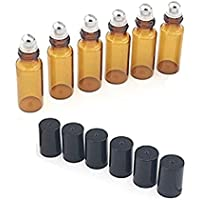 5ml (de vidrio ámbar Botellas -- Juego de 15con bola de metal para aceites esenciales, aromaterapia, perfumes y cristal