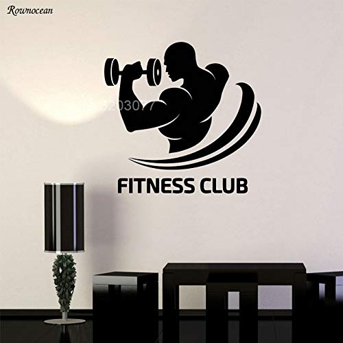 guijiumai Fitness Club Logo Gym Bodybuilding Sport Dekor Vinyl Wandaufkleber Removable Wallpaper Room Decor Wandbild Muurstickers weiß 57x55cm -