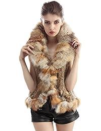 cd613f373ba5c4 CharmantFur 3 Färbig Ohne Arm Lang Fellweste Pelzweste im Winter für Damen  Weich Kaninchen Fell Warm