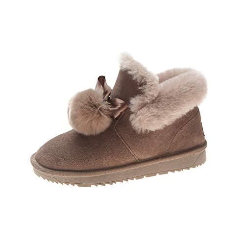Warme Baumwollschuhe Schneestiefel Kaschmirstiefel Mode Flache Kurze Stiefel Damen Warm, Maroon, 38 ()