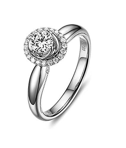Daesar Schmuck 18 Karat Weißgold 1 ct Diamant verlobungsringe für Frauen Versprechen Ehering Größe 55 (17.5)