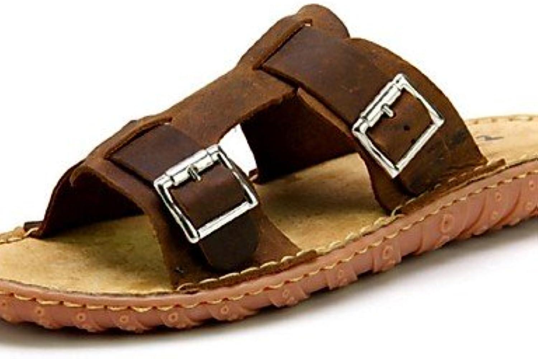 NTX/zapatos de hombre exterior/Casual Piel Pantuflas Marrón, hombre, brown-us10 / eu43 / uk9 / cn44, talla única  -