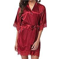 ملابس نوم نسائية من GAGA ذات قصة كيمونو قصيرة من الساتان مع أكمام 3/4 10 X-Small