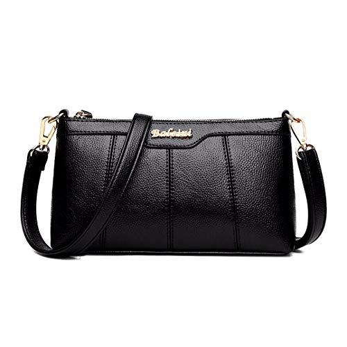 Skyinbags Damen Single Schultertasche Weiche Pu Einfachheit Reine Farbe Fashion Multi-Layer Schräg Tasche, Schwarz