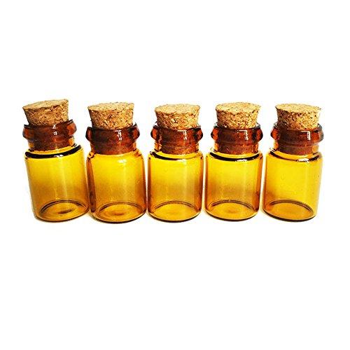 240,5ml kleine Amber Glas ätherisches Öl Parfüm Gläser Flakon Flasche mit Korkverschluss für Arts & Crafts Jewelry Halskette Anhänger Nachricht Wishing Flasche Container (ätherische Flaschen Amber Für öle)