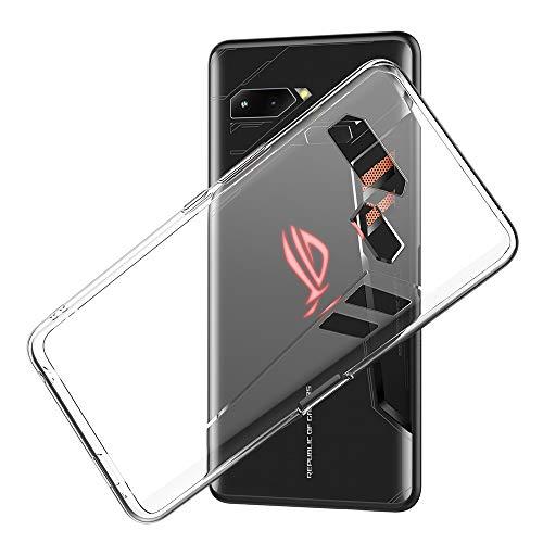 Eastcoo ASUS ROG Phone Hülle Case, Dünn Transparent Soft Flexible TPU Handyhülle Cover Anti-Kratzer Schutzhülle Leichter Tasche für ZS600KL 6.0 inch- Transparent & Schwarz(Transparent)