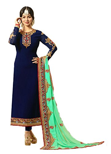 Jesti Designer Women's Faux Georgette Dress Material (_Blue_Free Size)