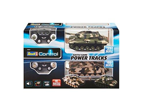 Revell Control 24224 – RC Panzer Set, Battle Game POWER TRACKS, 2 RC Panzer mit Infrarot-Schussfunktion, Soundmodul, Rückstoßeffekt, Mündungsfeuer-LED, Kettenlaufwerk mit Gummikette, MHz - 2